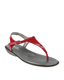 Step on Airs Hanna Patent Leather Flat Toe Thong Slingback Sandal Red