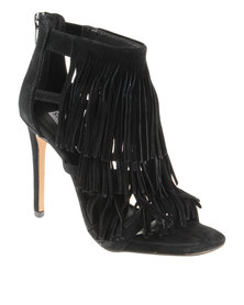 Steve Madden Fringly High Heeled Suede Sandals Black