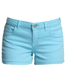 Suite Blanco Medium Rise Denim Shorts Blue