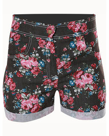 Tanika Designs High Waist Floral Denim Shorts