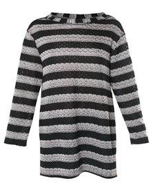 Tanika Designs Side Seam Slit Jersey Stripe Black and Creme