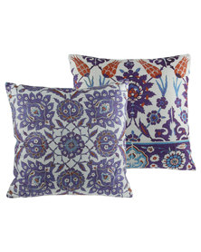 Tassels and Treasures Moroccan Tiles Set Of Two Cushions Multi