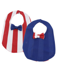 The Jodi Deerling Collection 2 Pack Striped Bib Bow Blue