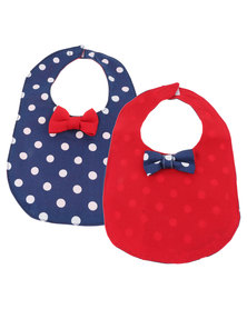 The Jodi Deerling Collection 2 Pack Polka Dot Bib Bow Red