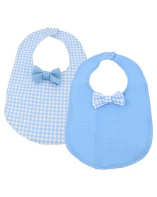 The Jodi Deerling Collection 2 Pack Check Bib Bow Blue