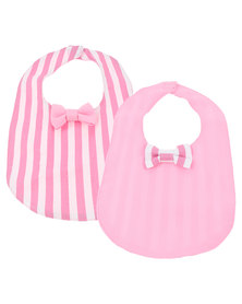 The Jodi Deerling Collection 2 Pack Striped Bib Bow Pink