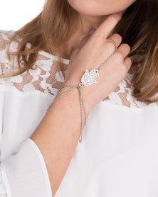 The Ramp Hamsa Multi-Chain Ring Bracelet Silver-Tone
