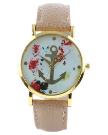 The Ramp Floral Anchor Watch Brown