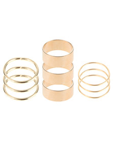 The Ramp 9 Piece Stack Ring Set Gold-Tone