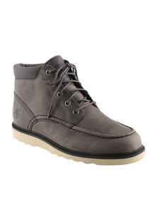 Timberland Ek Newmarket Wedge Chukka Leather Lace Up Boots Grey