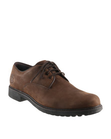 Timberland Ek Stormbuck Plain Toe Oxford Leather Lace Up Shoes Dark Brown