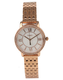 TIMEX Ashland Swarovski Stainless Steel Watch Gold