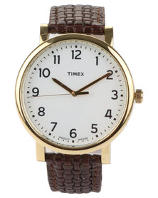 Timex Classic Leather Strap Watch Brown