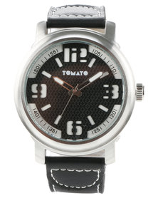 Tomato Dial Leather Strap Watch Black