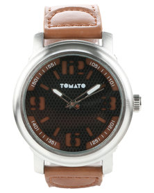Tomato Dial Leather Strap Watch Brown