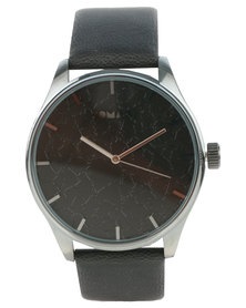 Tomato Round Dial Black Strap Watch Black