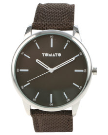 Tomato Round Dial Synthetic Strap Watch Black