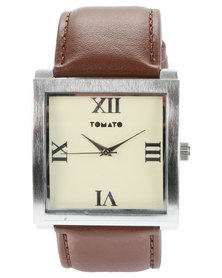 Tomato Square Dial Watch Brown