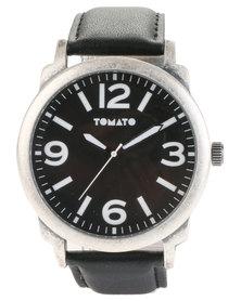 Tomato Black Dial Leather Strap Watch Black