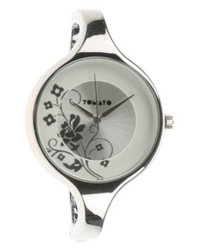 Tomato Floral Dial Metal Bangle Watch Silver-Tone