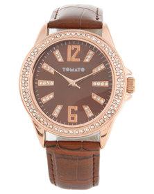Tomato Diamante Dial Brown Strap Watch
