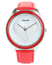 Tomato Moulded Heart Leather Strap Watch Red