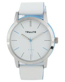 Tomato Round Dial White Strap Watch