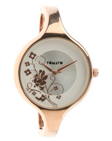 Tomato Floral Dial Metal Bangle Watch Rose-Gold Tone