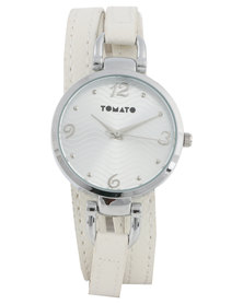 Tomato Ladies Wrap Strap Watch White