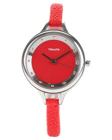 Tomato Round Dial Leather Strap Watch Red