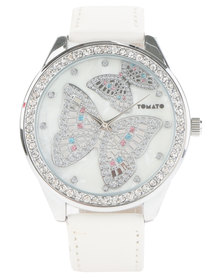 Butterfly Dial Watch White