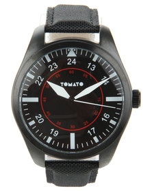 Tomato Black Dial Leatherette Strap Watch