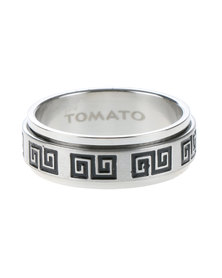 Tomato Stainless Steel Greek Style Ring Silver-Tone