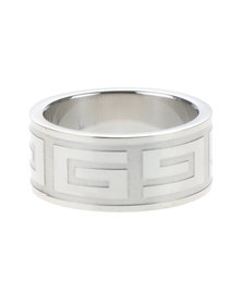 Tomato Stainless Steel Broad Greek Style Ring Silver-Toned