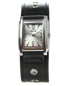 Tomato Square Dial Eyelet Strap Watch Black