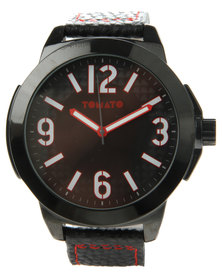 Tomato Round Dial Leatherette Strap Watch Black