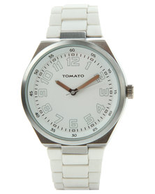 Tomato Dial Silicone Strap Watch White