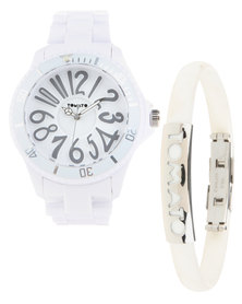Tomato Watches Plastic Graphic Watch With Matching Bracelet White