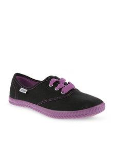 Tomy Purple Neon Canvas Sneakers Black
