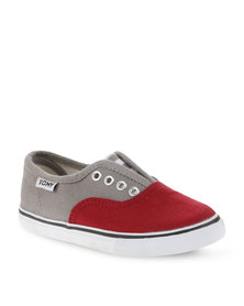 Tomy Children's Classic Canvas Sneakers Grey and Red