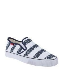 Tomy Takkies Mens Slip-On Shoes Stripes White