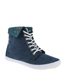 Tomy Takkies Fold Over Denim Hi Top Blue