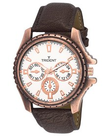 Trident Leeds Mens Watch Brown PU Leather Strap