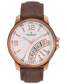 Trident Seoul Mens Watch Brown PU Leather
