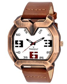 Trident Salvador Mens Watch Brown PU Leather Strap