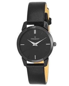 Trident Seattle Ladies Watch Slimline Luxury Black Leather