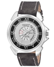 Trident Plymouth Mens Watch Black PU Leather Strap