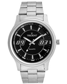 Trident Brittany Black Dial Mens Watch Steel Strap