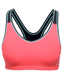Triumph Performance Tri-Action Control Sports Bra Teaberry Black Mix