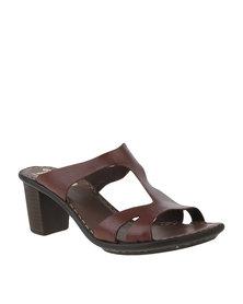 Tsonga Untanga Leather Chunky Slip On Block Heel Tan